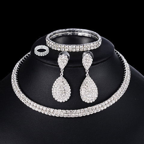 Luxury Wedding Jewelry Set | Crystal Jewelry Set | Geometric Jewelry