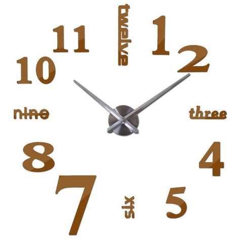 Quartz Clock | 3D Number Clock | Personalized Silent Clocks| Frameless