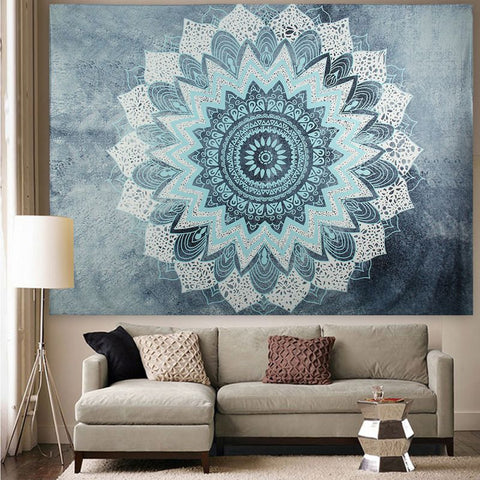 Image of wall decor Wall Hangings | black | Polyester | Mandala Tapestry | Tapestry | Below $200