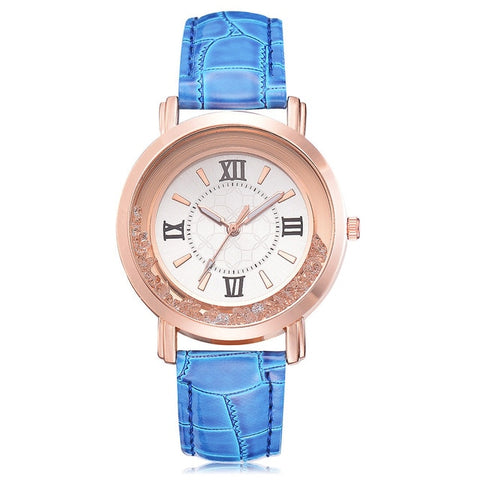 Rhinestone Leather Wrist Watch