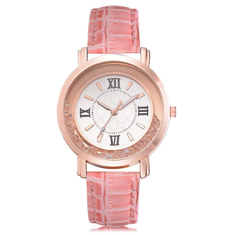 Image of Rhinestone Leather Wrist Watch