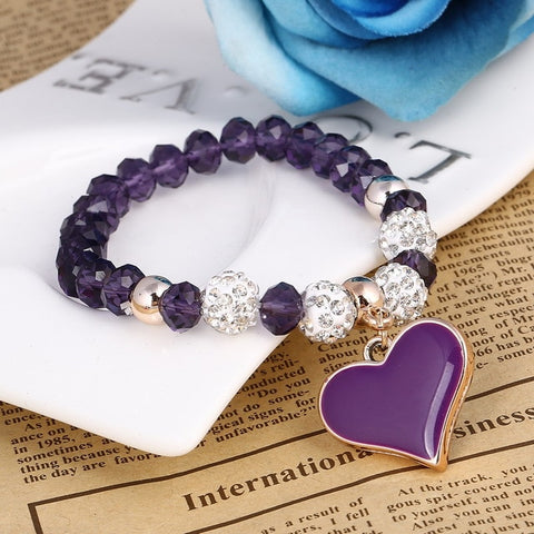 Crystal Beads & Heart Bracelet