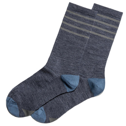The Merino Sock in Blue & Grey Stripe