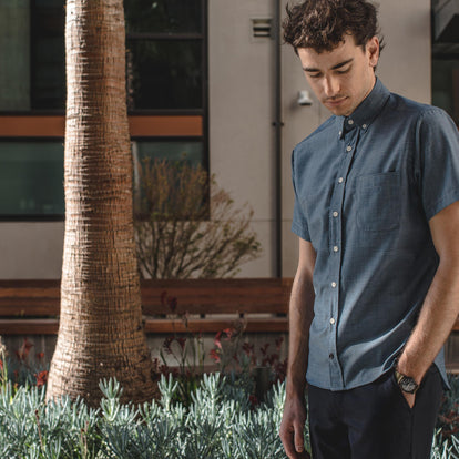 The Short Sleeve Jack in Sky Blue Chambray