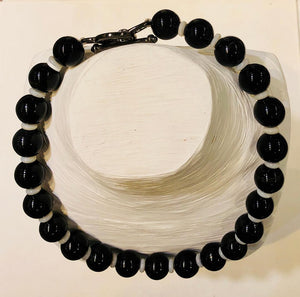 Black Agate and Mother Pearl Necklace, Jaded Jewels