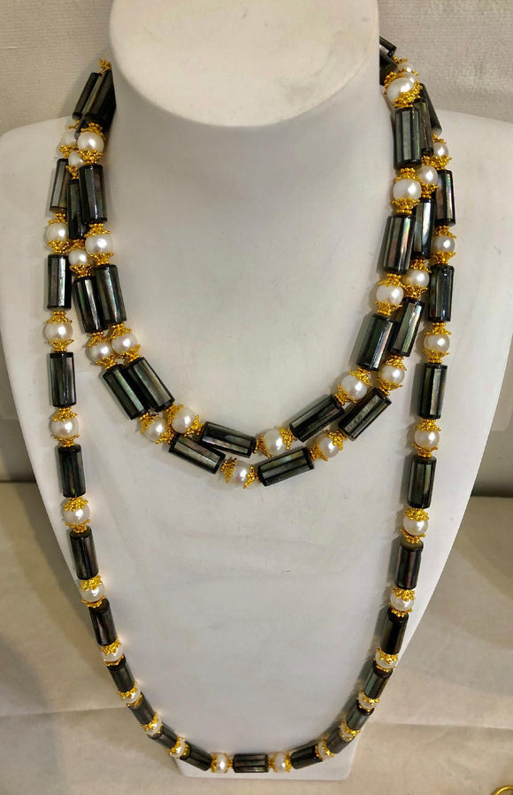 Jaded Jewels, Grey mother of pearl faceted and pearl   necklace