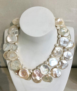 Large Flat Pearl Necklace, Jaded Jewels