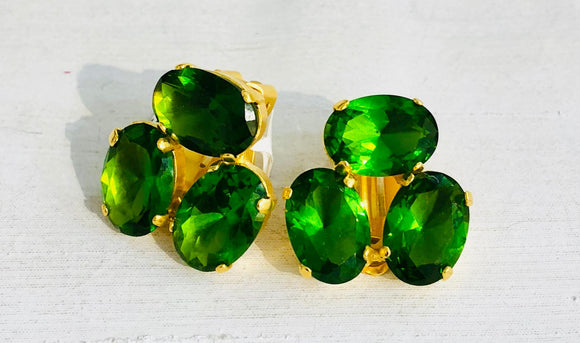 Three Green Stones Earrings, Jaded Jewels