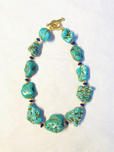 Baroque Turquoise Necklace and lapis lazuli rondelles.