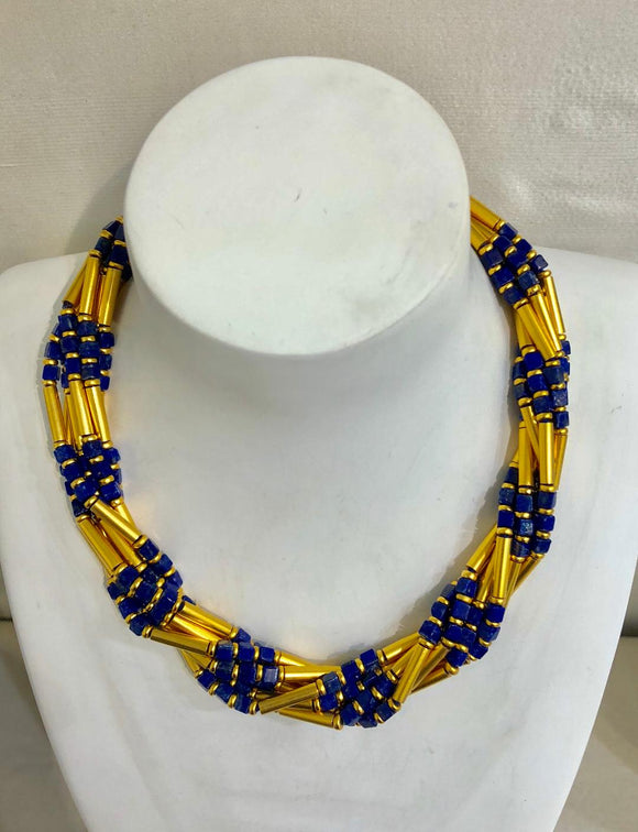 Seven Strand Lapis and Gold Plate Necklace