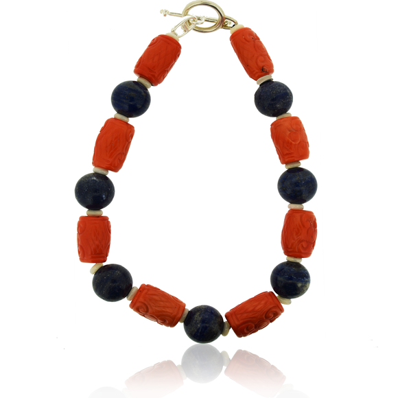 JADED JEWELS, LAPIS AND CORAL NECKLACE