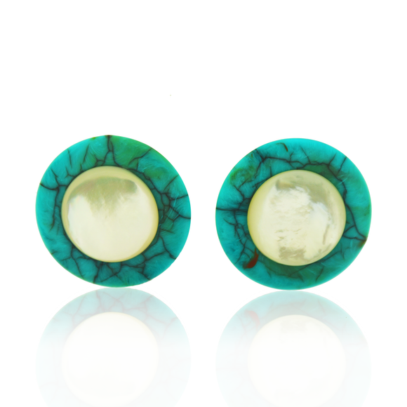Turquoise Button Earrings, Jaded Jewels