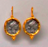 Two-Tone Roman Reproduction Earrings, Jaded Jewels