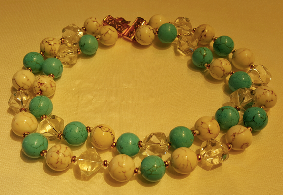 Turquoise, Crystal, and Agate Necklace by Jaded Jewels
