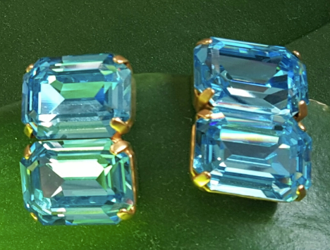 Double Blue Topaz Earrings, Jaded Jewels