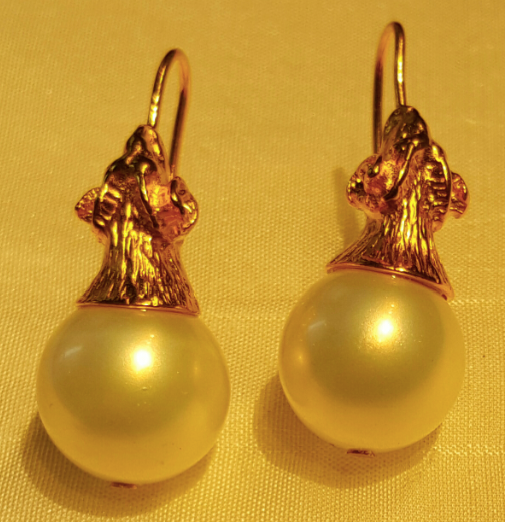 Ram's Head Pearl Earings, Jaded Jewels