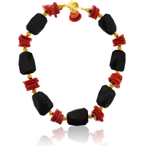 Black Spinel and Coral Necklace by Jaded Jewels