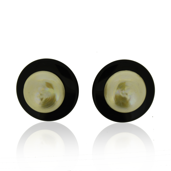 Large Onyx and Pearl Earrings, Jaded Jewels