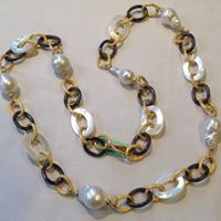 Two-Tone Pearl Chain Necklace, Jaded Jewels