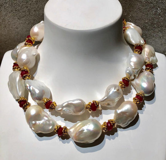Two Strand Baroque Pearl and Red Jade Necklace, Jaded Jewels,