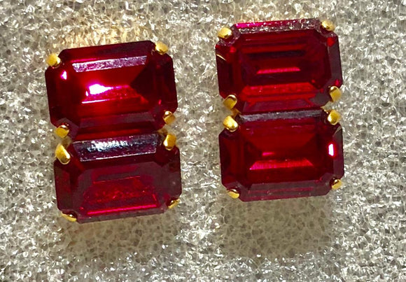 Red Crystal Double Rectangular Earrings, Jaded Jewels