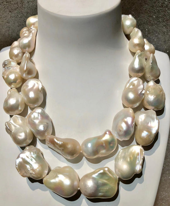 Two Strand Large Baroque Pearl Necklace, Jaded Jewels
