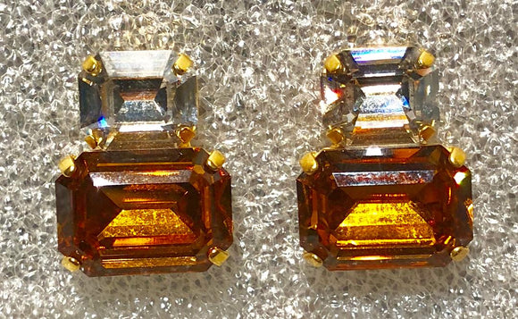 Swarovsky Clear and Yellow Topaz Earrings, Jaded Jewels