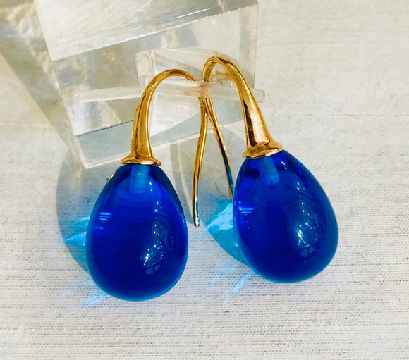 18kt London Blue Quartz Earrings by Evanueva