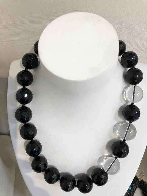 Faceted Onyx and Crystal Necklace, Jaded Jewels