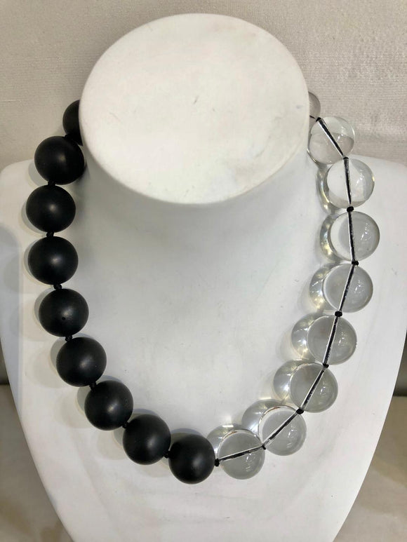 Satin Onyx and Clear Crystal Necklace, Jaded Jewels