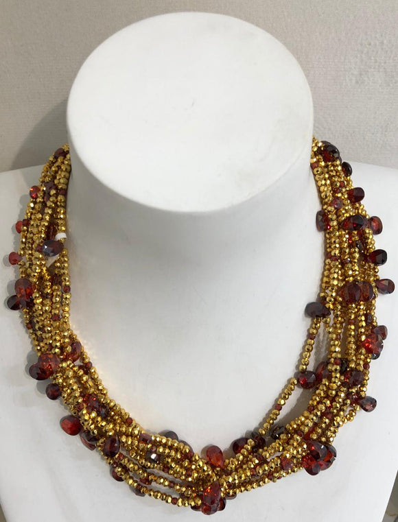 Ten Strand Garnet and Pyrite Necklace by Jaded Jewels