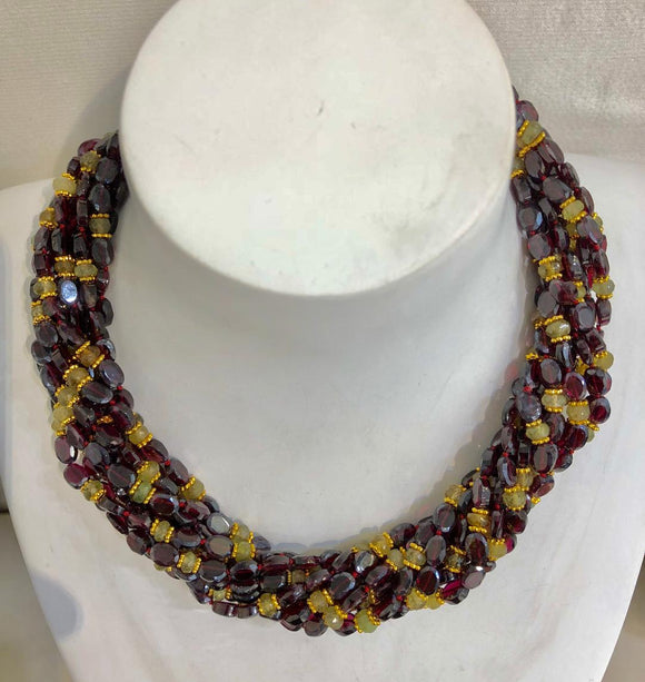 Twelve Strand Faceted Garnet and Labradorite Necklace, Jaded Jewels