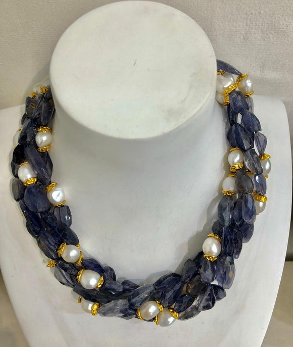 Five Stand Iolite and Pearl Necklace, Jaded Jewels