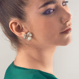 Three Petal Keshi Pearl Earrings, Jaded Jewels