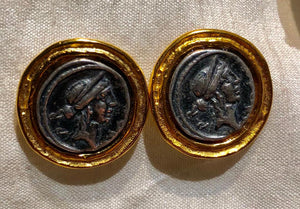 Two Tone Roman Coin Earrings, Jaded Jewels