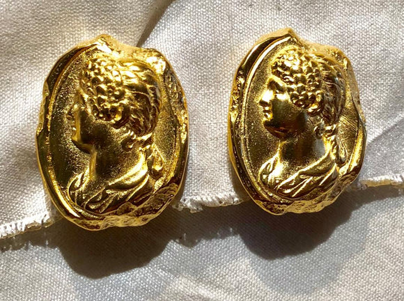 Jaded Jewels , intaglio earring  21 kt gold plated over bronze $175.00