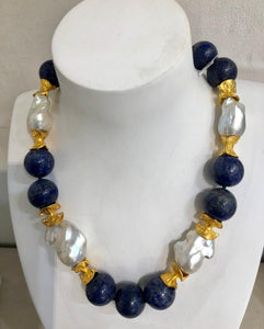 Baroque Pearl and Lapis Necklace, Jaded Jewels