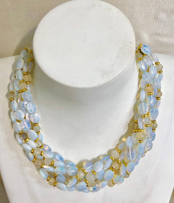 Seven Strand Opalite Glass and Faceted Moon Stone Necklace, Jaded Jewels