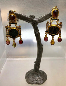 Roman Coin and Tourmaline Earrings, Percossi Papi Private Collection