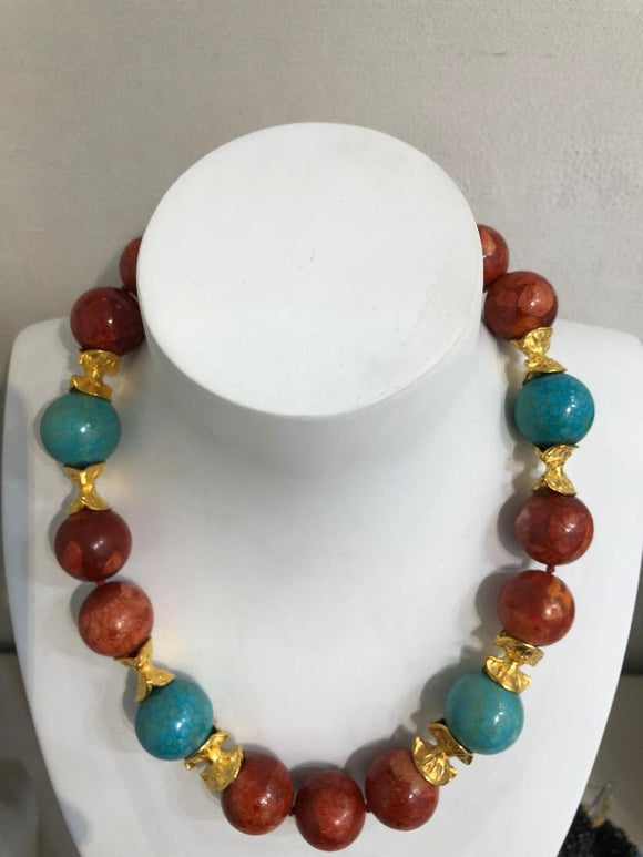 Coral and Turquoise Necklace by Jaded Jewels