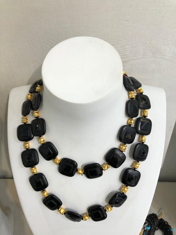 21kt Gold-Plated Long Onyx Necklace