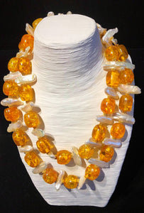 resin amber  and  pearl necklace  , long or  2 strand