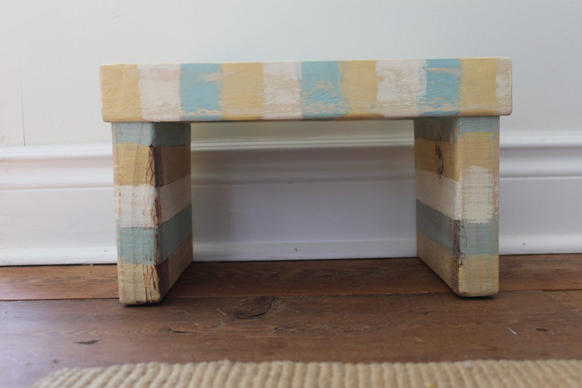 Ochre-Limestone-Blue Striped Kids' Step Stool - Distressed - $10 Donated to a Childhood Cancer Cause
