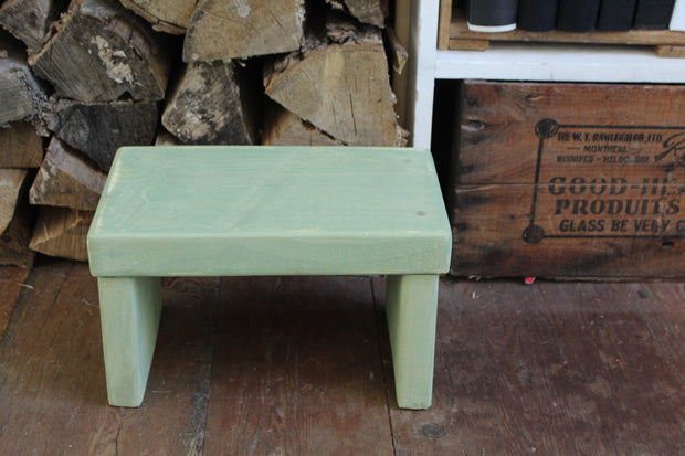 Upper Canada Green Kids' Step Stool - Distressed
