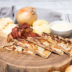 Gluten Free Bacon, Apple, Cheddar + Caramelized Onion Quesadilla
