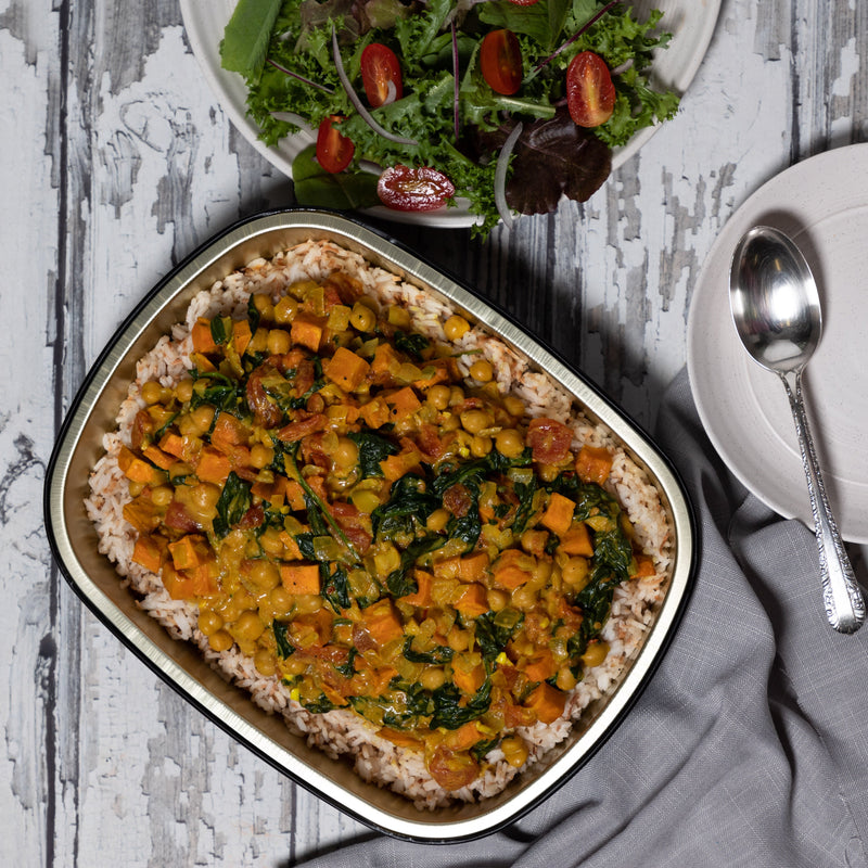 Sweet Potato, Spinach + Chickpea Coconut Curry