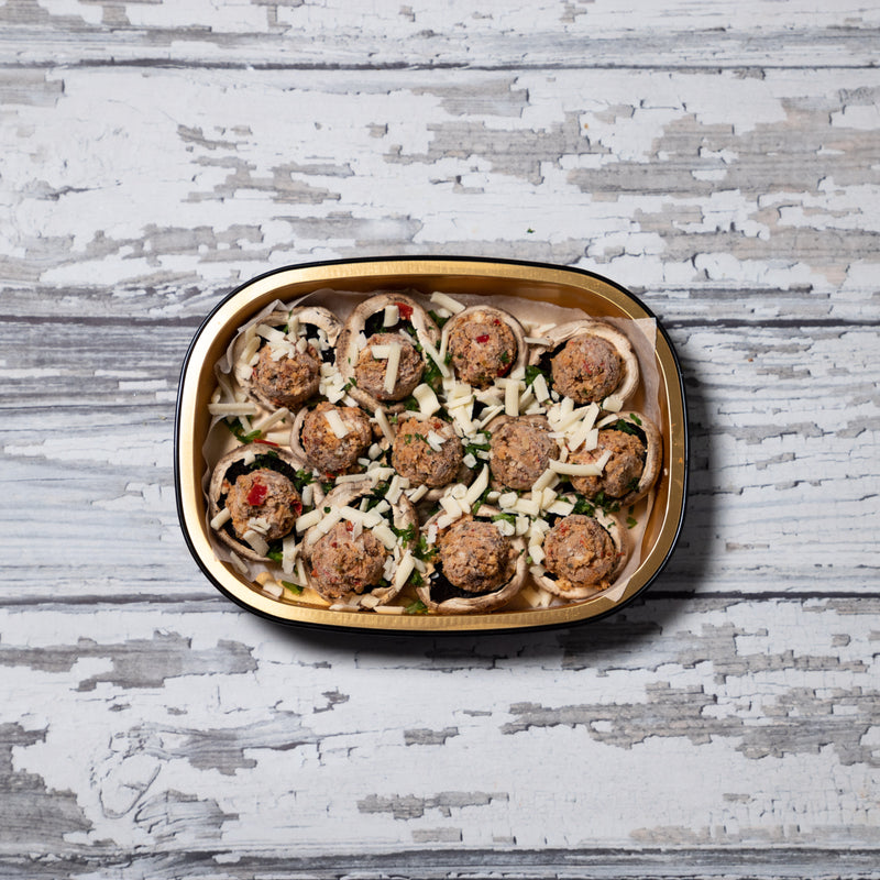 Spicy Sausage + Cheddar Stuffed Mushrooms