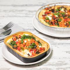 Roasted Vegetable + Goat Cheese Croissant Quiche