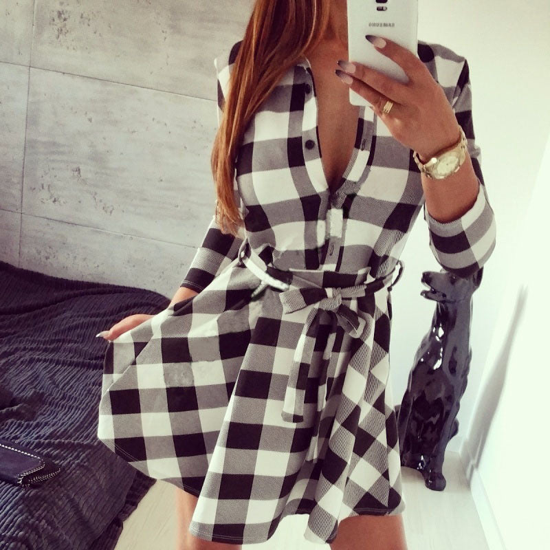2017 Explosions Leisure Vintage Dresses Autumn Fall Women Plaid Check Print Spring Casual Shirt Dress Mini Q0035 - Online Shopping stockyoo