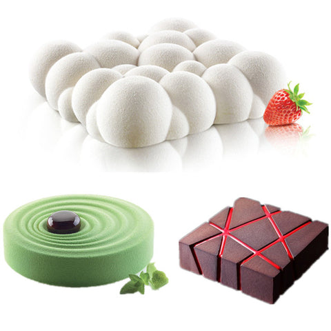3PCS Grid Block Clouds Ripple 3D Mousse Cake Moulds For Ice Creams Chocolates Cake Mold Pan Bakeware Geometric shapes